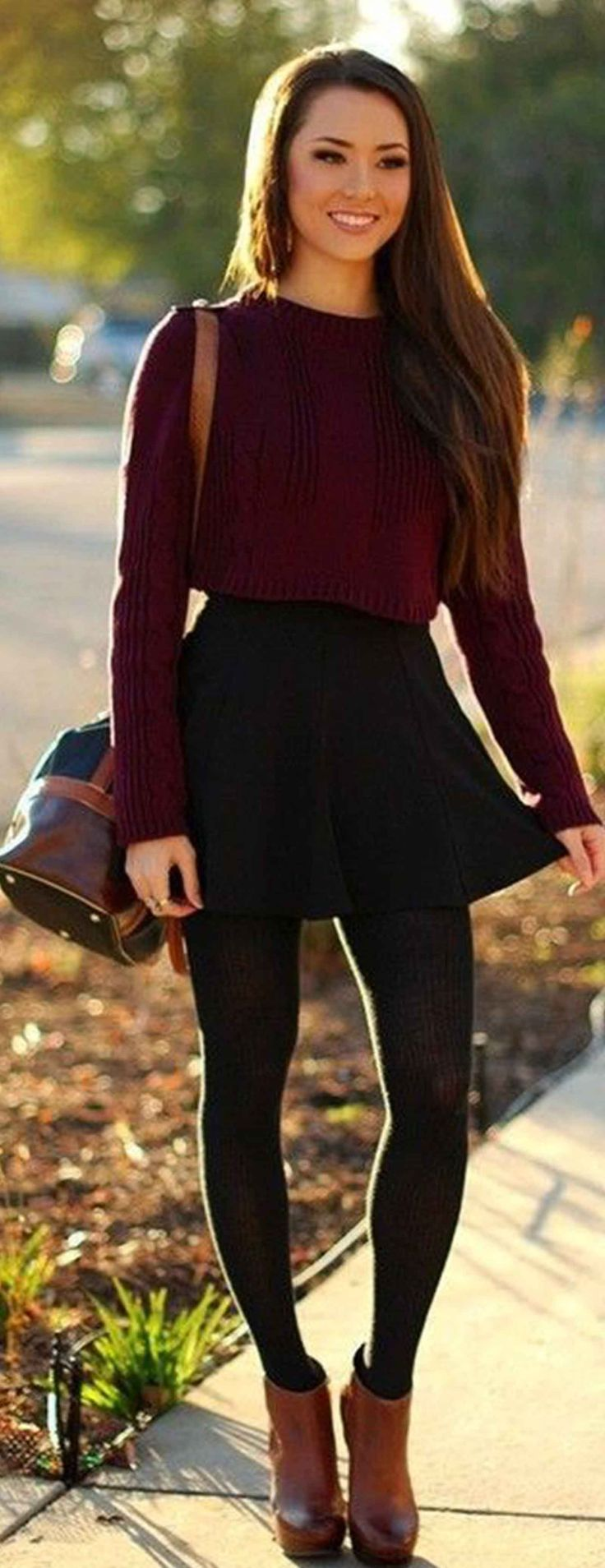 burgundy sweater, black high-waisted skirt, black tights and ankle booties. #fallstyle #trends #bloggerstyle