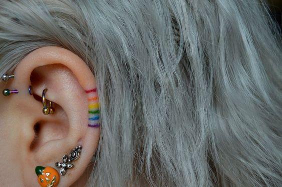 BEST RAINBOW EAR TATTOO DESIGN FOR GIRLS