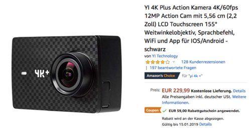 Yi 4k Plus Action Kamera 4k 60fps 12mp Foto Kamera Weitwinkelobjektiv App