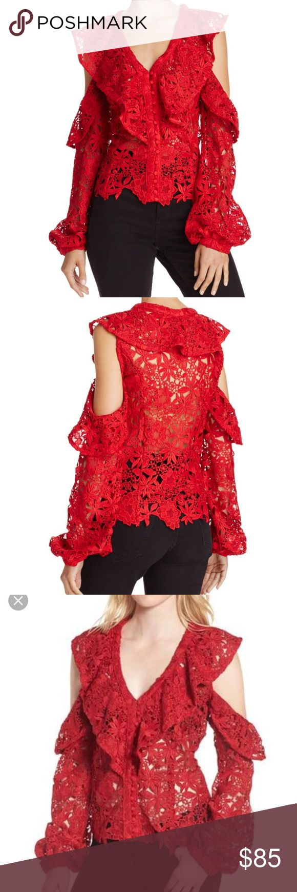 NWT Bardot red Lace Vanetina cold shoulder shirt Bardot NWT  Red lace Cold shoulder Size XS So perfect for Valentine's Day Bardot Tops