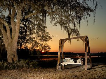 Freestanding Swing - rustic - Outdoor Chaise Lounges - Charleston - Vintage Porch Swings LLC