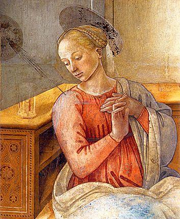 L'Annonciation, Filippo Lippi, Scène de la vie de la vierge, détail de la vierge, fresque, 1467-1469