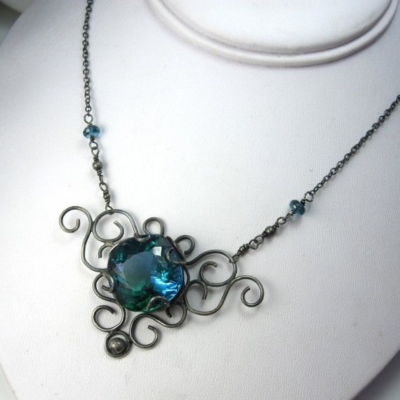Blue amethyst necklace.   It looks lovely.