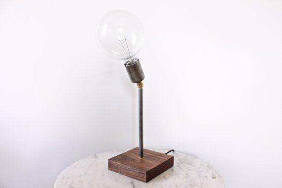 brass steel wood desk lamp // modern rustic by ninosheadesign, $150.00