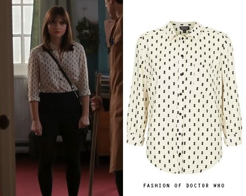 "fashionofdoctorwho: "" thanks tat-mas! Clara Oswald, The Caretaker Topshop Diamond Print Shirt (Ebay: UK 6 $57) worn with: Deena & Ozzy Satchel and Topshop Scallop Hem Shorts """