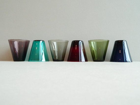 6 Kaj Franck Nuutajarvi Notsjo Multicolored Glass by MonkiVintage