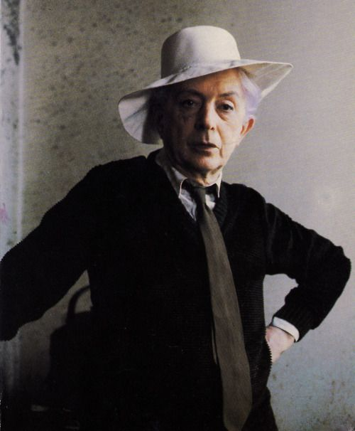 '…I never adjusted my wicked, wanton self: in an era where thinking people were 'reds' I was outspokenly rouge.' — Quentin Crisp (photographed by Anton Corbijn c. mid-1980s)