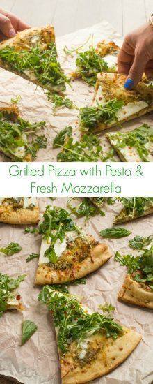 Grilled Pizza with Presto and Fresh Mozzarella Recipe - A quick and easy dinner that anyone could make! - The Lemon Bowl