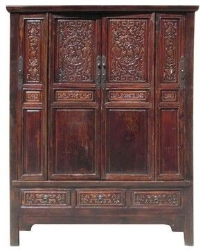 Chinese Antique Solid Wood Hand Carving Armoire Cabinet - asian - Armoires And Wardrobes - Golden Lotus Antiques