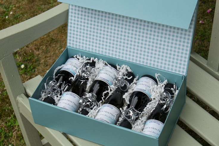 Mini bottles of Prosecco. Perfect as wedding favours or a little Hen Do treat!
