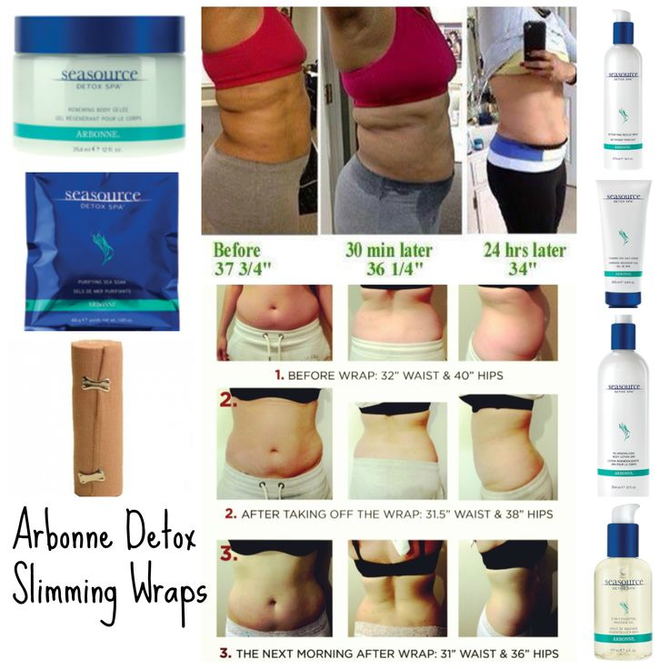 "Detox Slimming Wraps using Arbonne SeaSource Detox Spa products! Eliminate toxins from your body in just 60 minutes and lose on average of 1 1/2"" right away, and keep losing inches up to 72 hours! #detox #tummywrap"