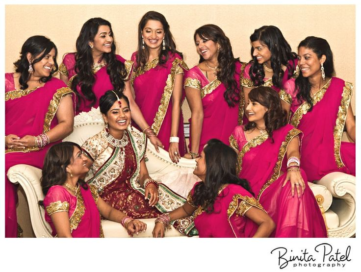 Bridesmaids in fuschia gold sarees #indian #shaadi #wedding #southasian #shaadi #belles   courtesy Binita Patel Photography   for more inspiration visit www.shaadibelles.com