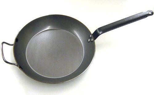 De Buyer 5110.32 Carbone Plus Heavy Quality Steel Round Lyonnaise Frying Pan, 32 cm Diameter