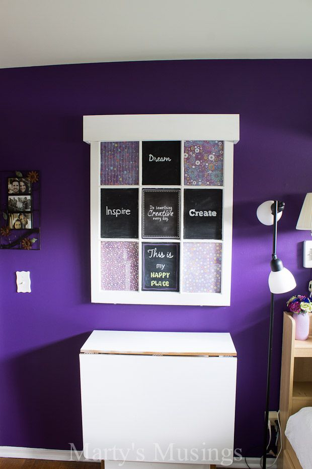 Look at the bold, rich color in this awesome craft room redo!