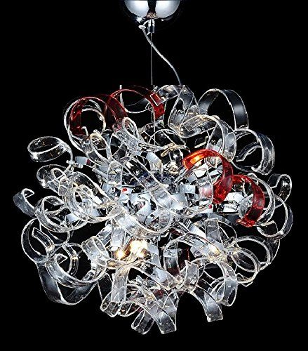 """Contempo Collection Modern Chandelier for Living Room Dining Room - 6x G9 LED / HALOGEN Dimmable Bulb INCLUEDED -Ceiling Lighting Fixture Pendant Chandelier - 58"""" TALL, 18""""x18"""" Sphere - LARGE"""
