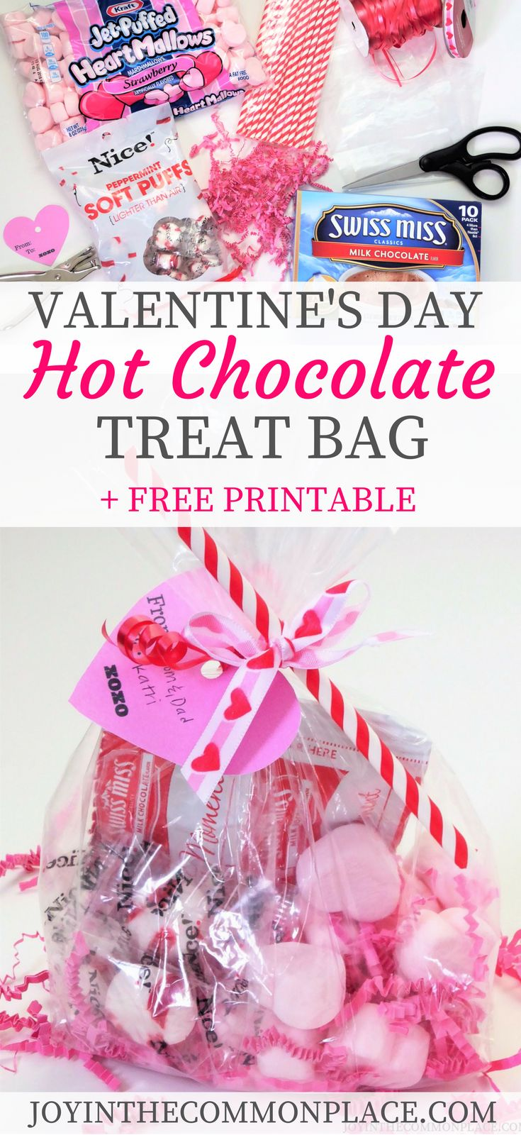 Are you looking for creative Valentine's Day gift ideas?? You don't want to miss this darling Valentine's Day Hot Chocolate Treat Bag + Free Gift Tag Printable.