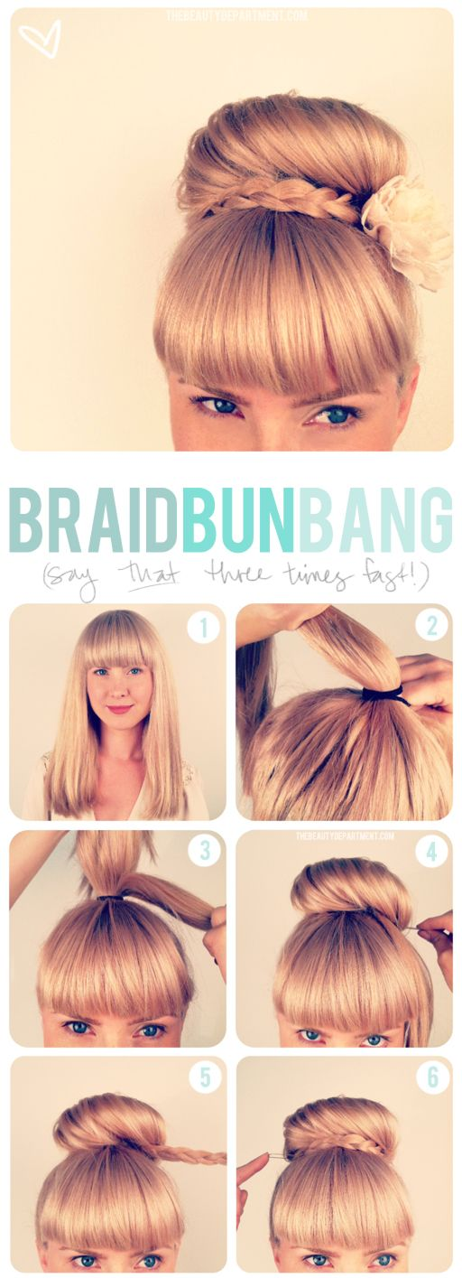 Girls with bangs (aka: fringe) seem to have some trouble finding updos. Here's one that I think is super cute and pretty easy to do. It takes about 5-10 minutes and keeps your hair out of your way all day. It's a great way to deal with second day hair if you just don't feel like doing it in the morning but have to look prim + proper for work. Here's how this bun is done.   # Pin++ for Pinterest # cute girl bun