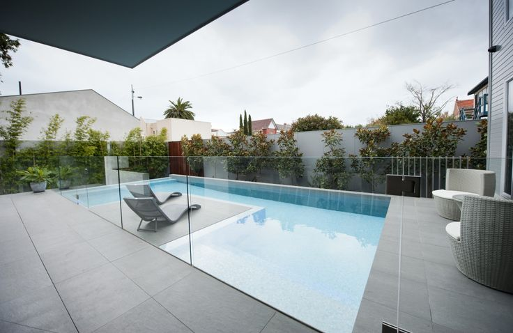 Concrete base channel pool fence