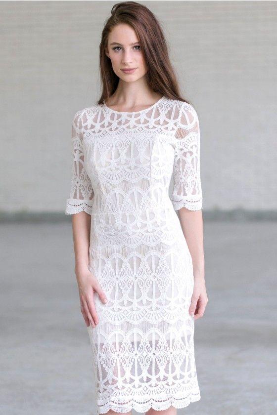 Ivory lace Midi Dress, Ivory Rehearsal Dinner Dress, Off White Bridal Shower Dress