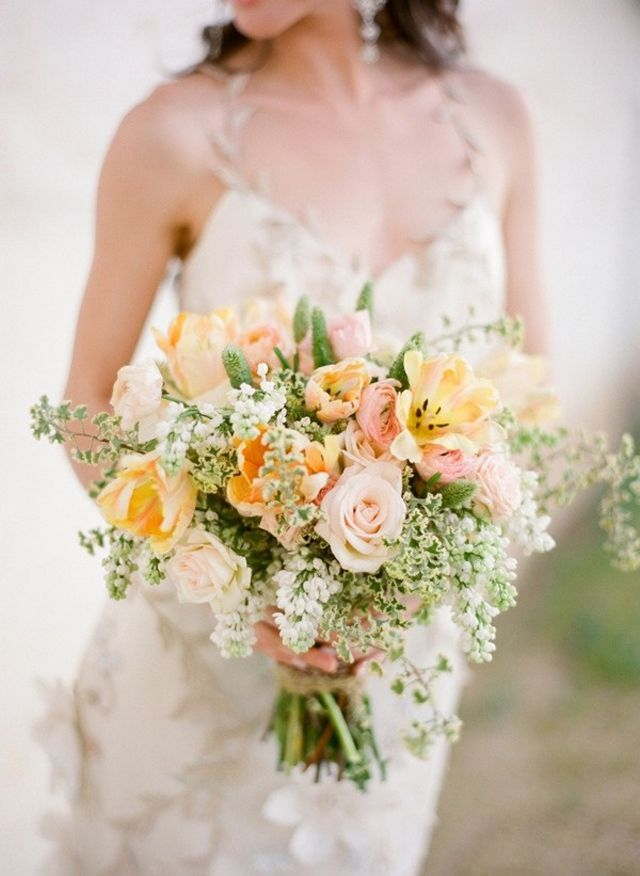 soft pastel yellow pink wedding bouquet, photo Jose Villa; bouquet Flowerwild