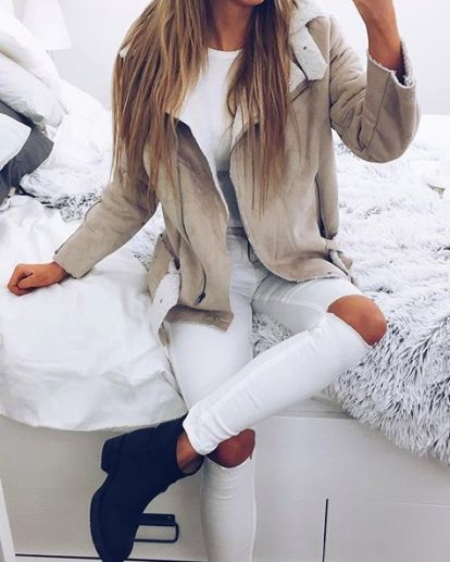 all white + camel shearling jacket