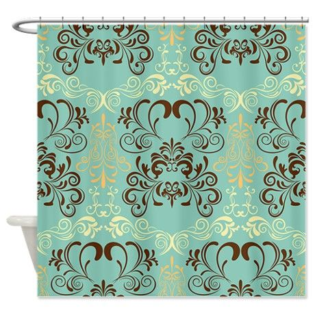 Teal Floral Shower Curtain