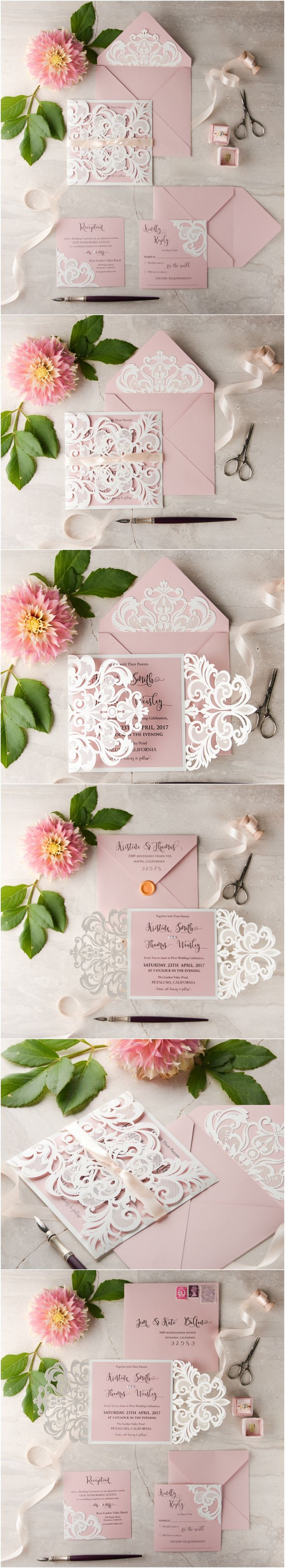 White & Pink Elegant Romantic Wedding invitation - laser cut lace and wax sealed envelope #weddinginvitations #romantic #weddingideas