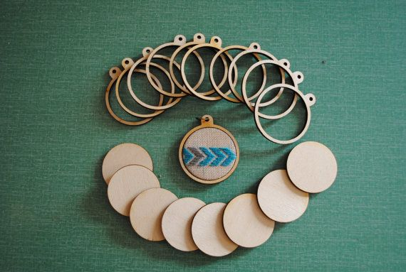 3 Miniature Wooden Embroidery Hoop Frames. by ampersandcommodities, £7.00
