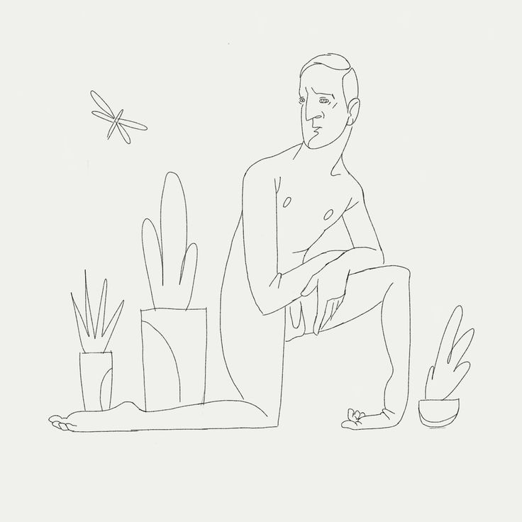 Succulents with man on knee.