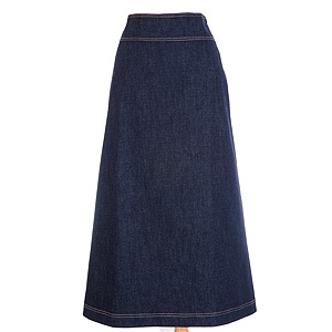 Fashioned in classic A-line simplicity insoft pre-washed stretch denim.Very comfortable. Contoured waistband, hidden side zipper. Available in three lengths. $33.00 #modest
