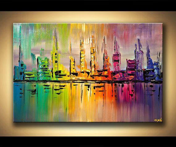 ORIGINAL City Acrylic Painting Modern Palette by OsnatFineArt, $360.00