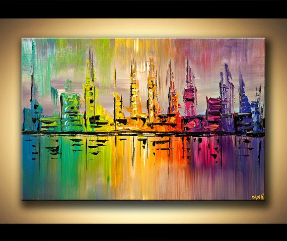 ORIGINAL City Acrylic Painting Modern Palette by OsnatFineArt, $360.00