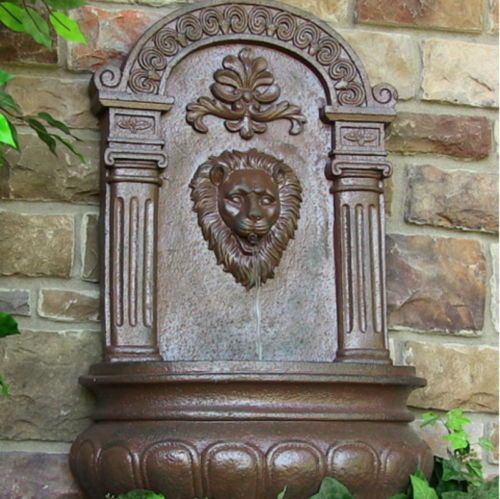Outdoor Solar On Demand Lion Head Wall Mounted Water Fountain