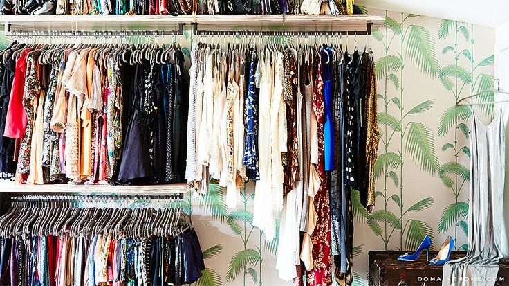 Former-reality-star-turned-fashion-designer Whitney Port uses these slim hangers to pack in as many clothes as possible in her cute closet space. Source: Justin Coit for Domaine Home