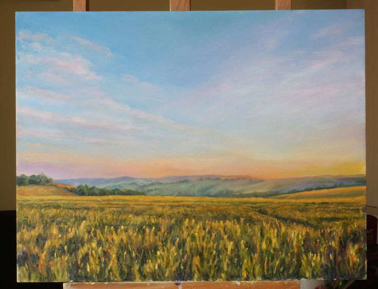 Sunset on a Wheat field on the South Downs. Oil on canvas - painting by Dinah Beaton