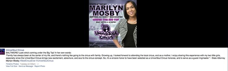 "Exclusive: No Kidding, Baltimore's State's Attorney Marilyn Mosby To Serve As Guest Ringmaster At UniverSoul Circus, For 'Your Life Matters' Performance | Weasel Zippers | 5.28.15 | ""I could make a lot of jokes about how apropos this is, Mosby running the circus. She knows people are concerned about her conflicts. But clearly, she doesn't give a rap. Mosby is out to raise her political profile, damn ethics or proper conduct. This is harmful to the rule of law and the rights of people of…"
