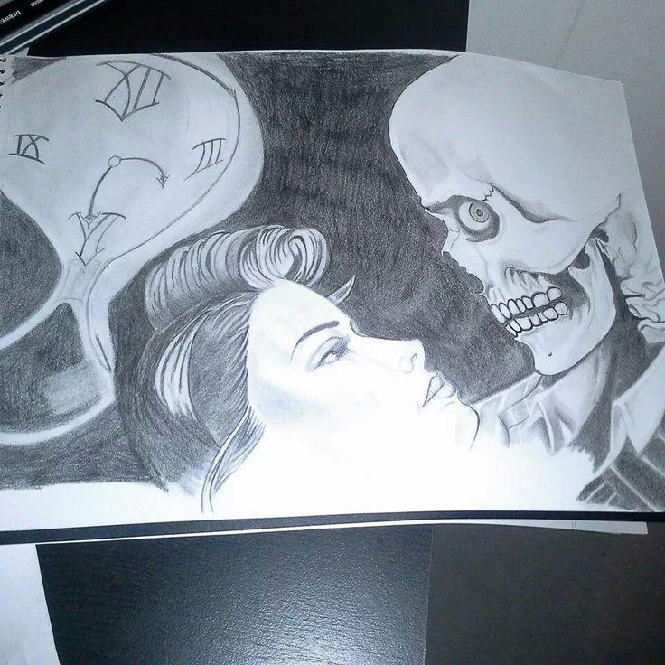 Freehand girl and skeleton inspired by OG Abel...