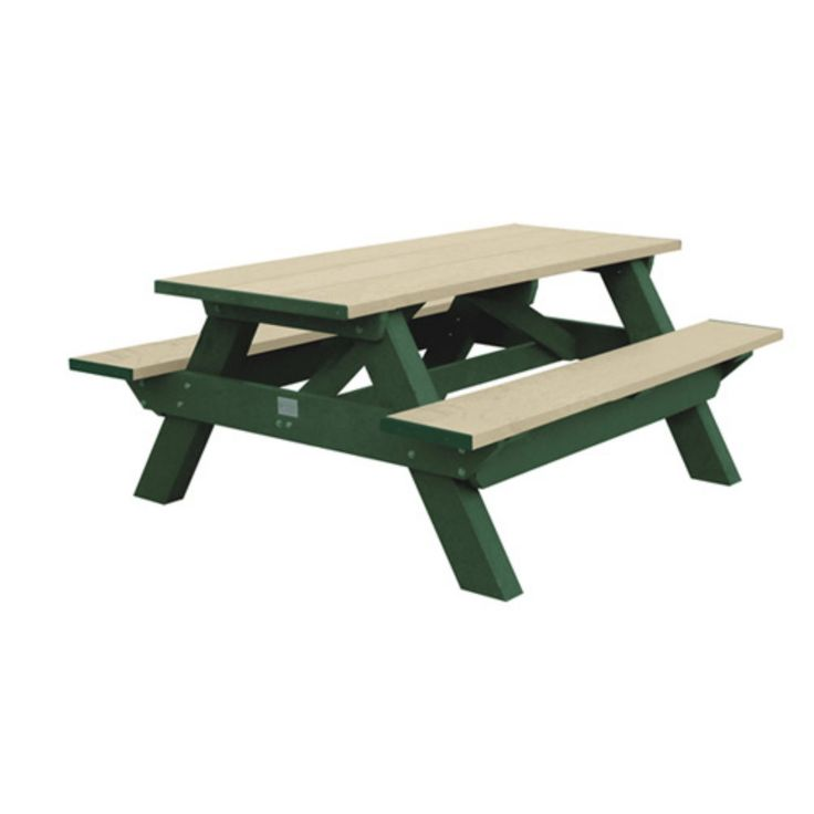Outdoor Polly Products Standard Recycled Plastic Picnic Table - ASM-SPT6-02-BLACK FRM-BLACK TOP-QKSHIP