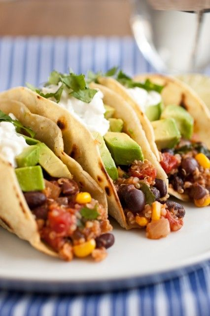 Quinoa, Black Bean and Corn Tacos. You wouldn't believe how good these tacos are! This filling is healthy, vegetarian and just as good as a ground beef version.
