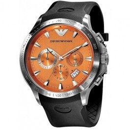 Emporio Armani Quartz, Orange Dial with Black Rubber Strap Band - Men's Watch AR0652