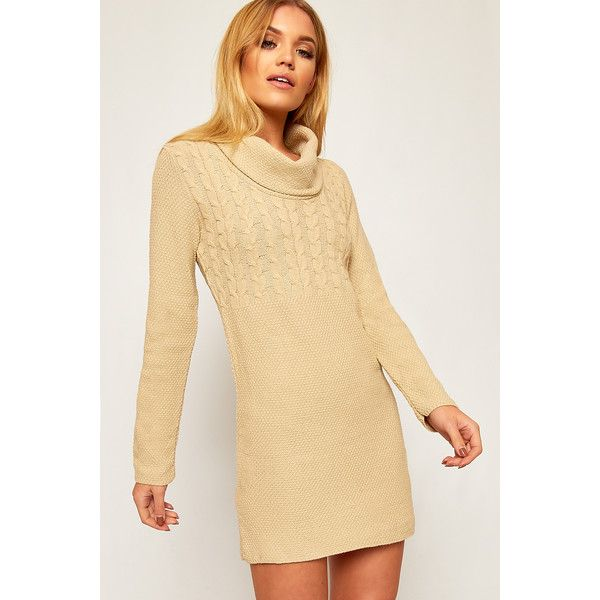 WearAll Cowl Neck Long Knitted Jumper ($22) ❤ liked on Polyvore featuring tops, sweaters, stone, beige sweater, long sleeve tops, cable knit sweater, long cable knit sweater and cable-knit sweater