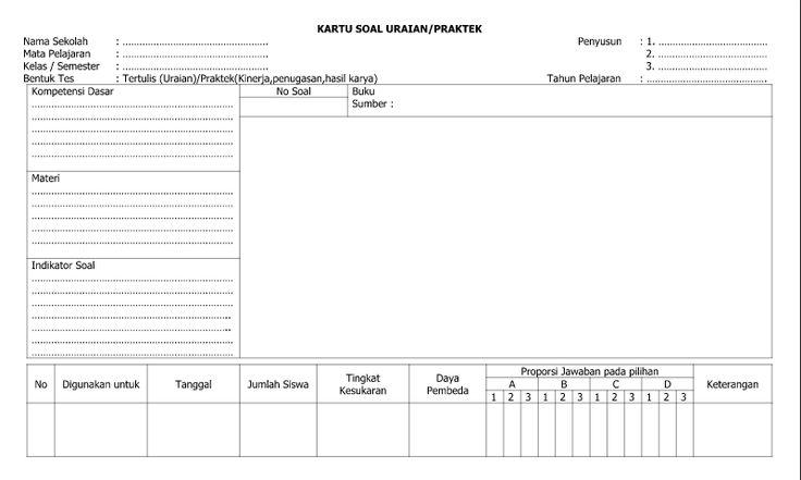 Referensi Contoh Kartu Soal Uraian Praktek - Lembar 2 untuk Administrasi Guru Wali Kelas