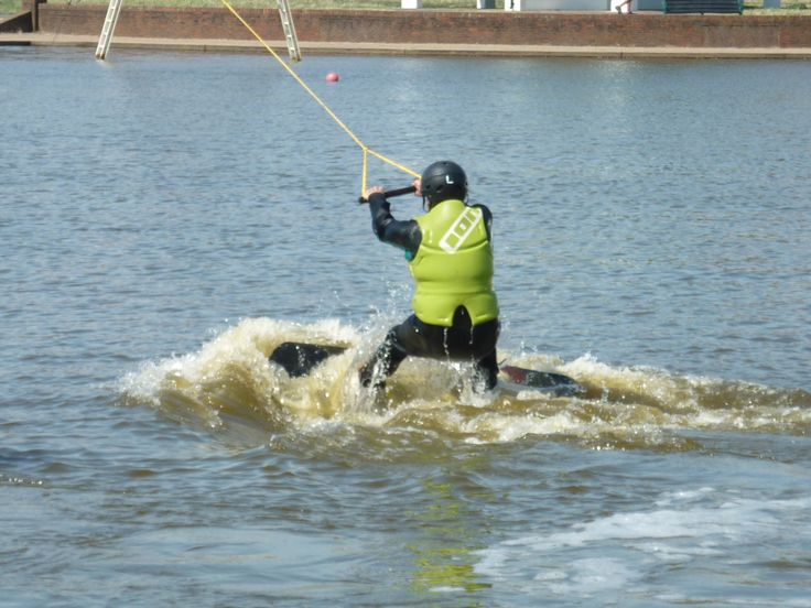 Getting the hang of #wakeboarding in #Brighton with Blind Veterans UK.