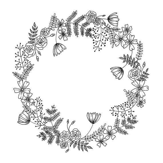 Blumenkranz Hand gezeichnet Kranz, Blumen & Blätter PNG druckbare schwarz botanische Clipart Download, Hochzeitseinladungen, Scrapbooking, Handwerk