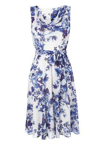 Blue Floral Chiffon Cowl Neck Dress £45