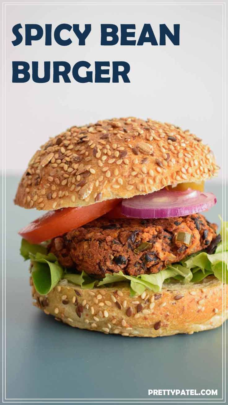 This spicy bean burger recipe is inspired by Mexican cuisine and a total winner if you are looking for a quick and easy vegan burger recipe. It only takes 30 minutes to make these burgers. via @pretty_patel