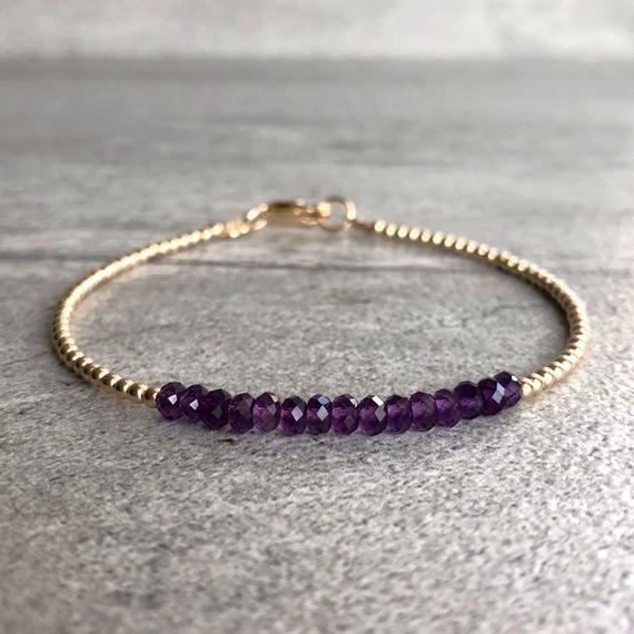 Delicate bracelet Wife birthday gift for women Amethyst jewelry Gold Amethyst bracelet Gemstone bracelet February birthstone bracelet
