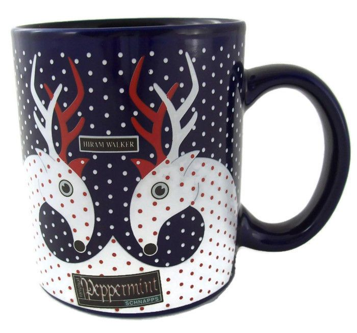 Hiram Walker Peppermint Schnapps Blue & Polka Dot Coffee Mug Reindeer Christmas  | eBay