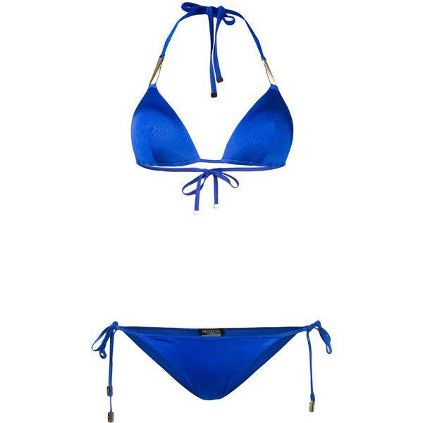Moeva metallic trim string bikini (£205) ❤ liked on Polyvore featuring swimwear, bikinis, blue, string bikini swimwear, blue bikini, spandex swimwear, blue swimwear and string bikini