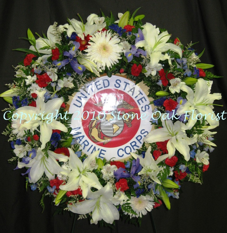 Patriotic Wreath With Marine Corps Emblem Funeral Floral